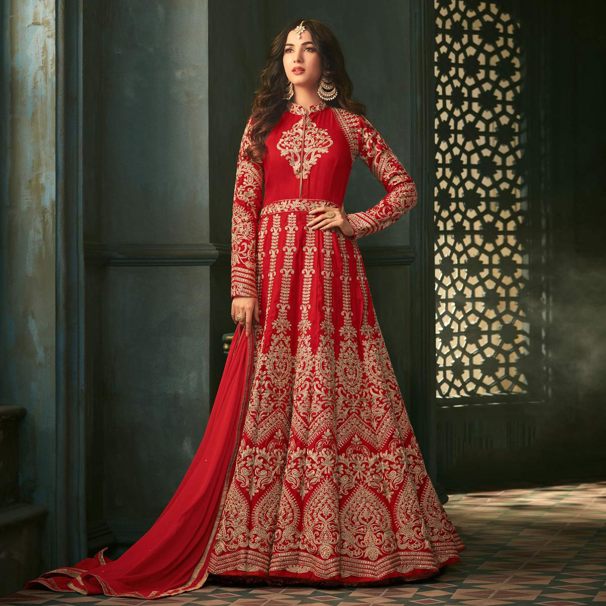 Adorable Red Heavy Embroidered Wedding Wear Silk Anarkali Suit