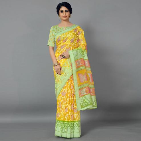 Yellow Casual Kimona Brasso Printed Saree With Unstitched Blouse