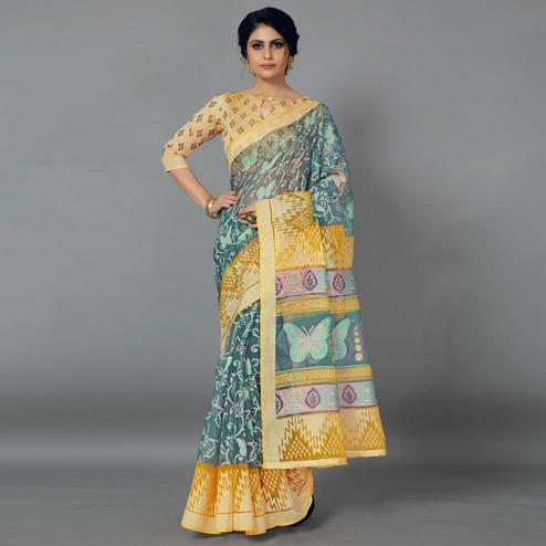 Grey Casual Kimona Brasso Printed Saree With Unstitched Blouse