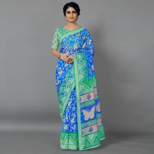 Blue Casual Kimona Brasso Printed Saree With Unstitched Blouse
