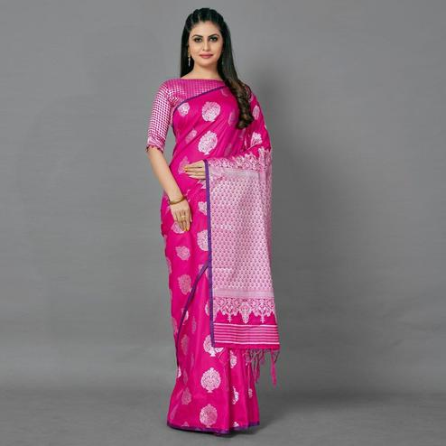 Pink Festive Silk Blend Woven Saree With Unstitched Blouse