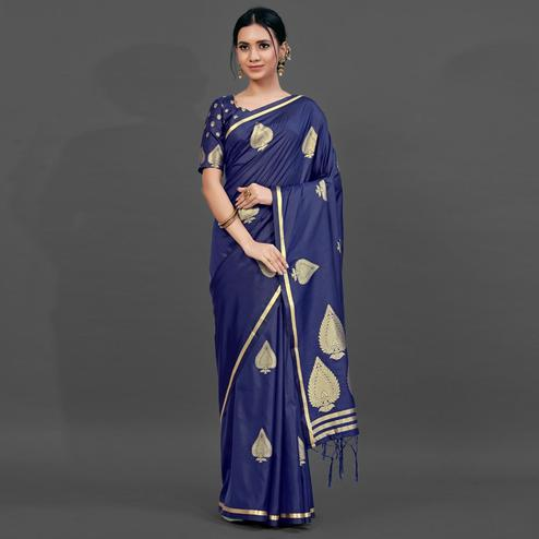 Navy Blue Festive Silk Blend Woven Saree With Unstitched Blouse