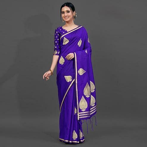 Blue Festive Silk Blend Woven Saree With Unstitched Blouse