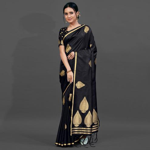 Black Festive Silk Blend Woven Saree With Unstitched Blouse