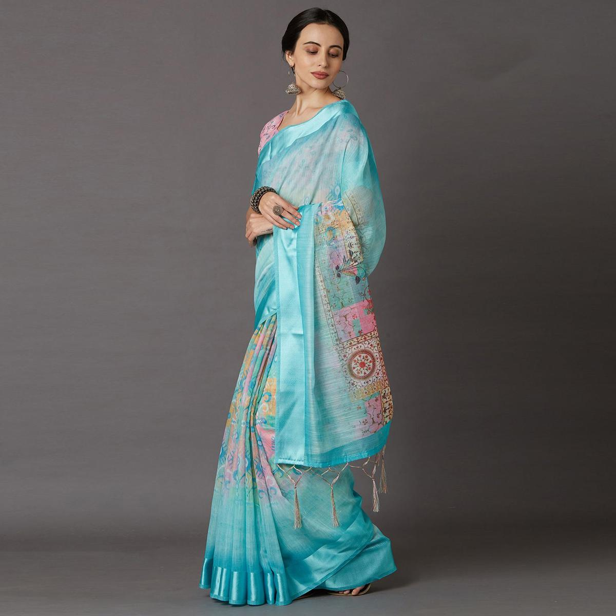 Sea Green Casual Linen Blend Printed Saree With Unstitched Blouse