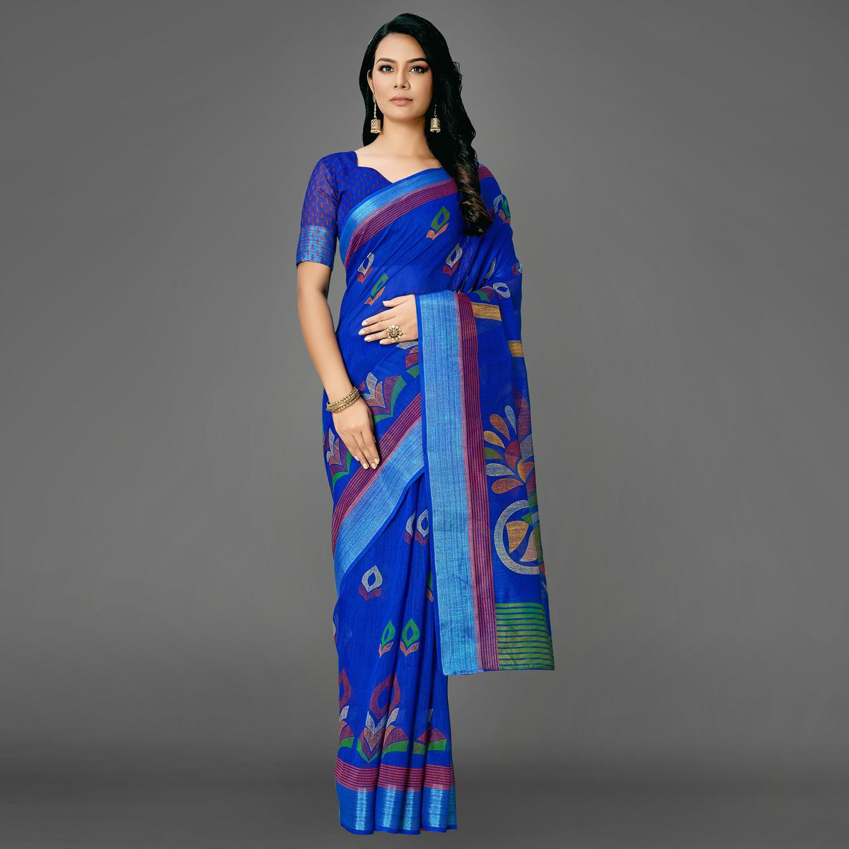 Blue Casual Cotton Printed Saree With Unstitched Blouse