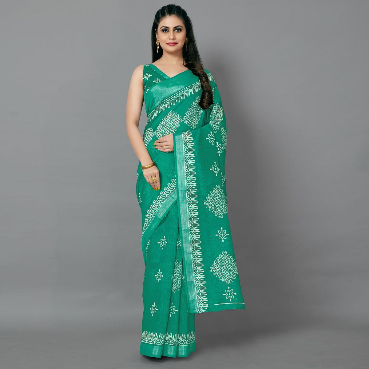 Green Casual Cotton Printed Saree With Unstitched Blouse