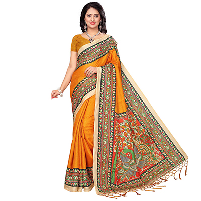 Orange Festive Wear Printed Khadi Jute Silk Saree