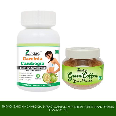 Zindagi - Garcinia Cambogia Extract Capsules with Green Coffee Beans Powder - Weight Management Supplement - 100% Pure Natural, Herbal - Fat Blocking(Special Combo Offer)
