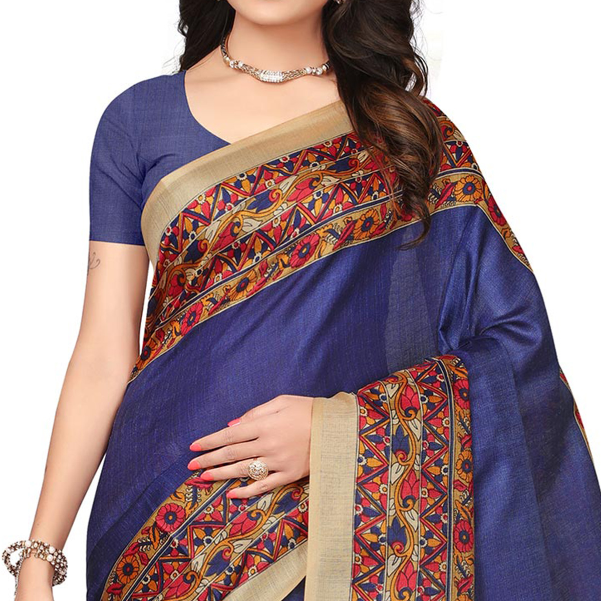 Navy Blue Festive Wear Printed Khadi Jute Silk Saree