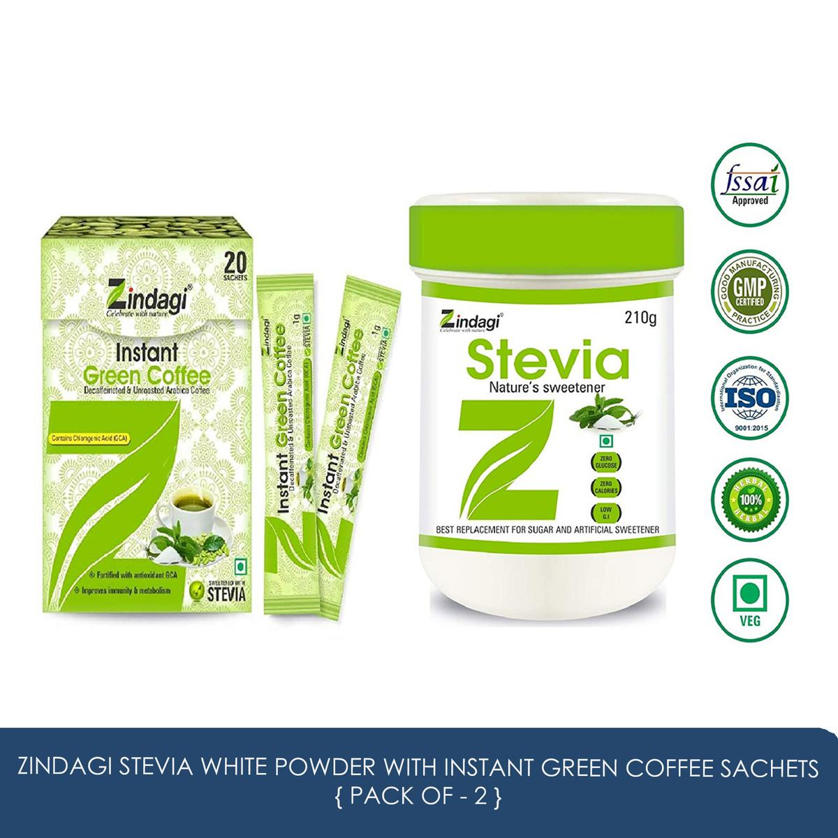 Zindagi - Stevia White Powder-210gm With Instant Green Coffee Sachets - Sugarfree Stevia Powder & Green Coffee Beans Powder For Weight Reduce (Combo Pack)