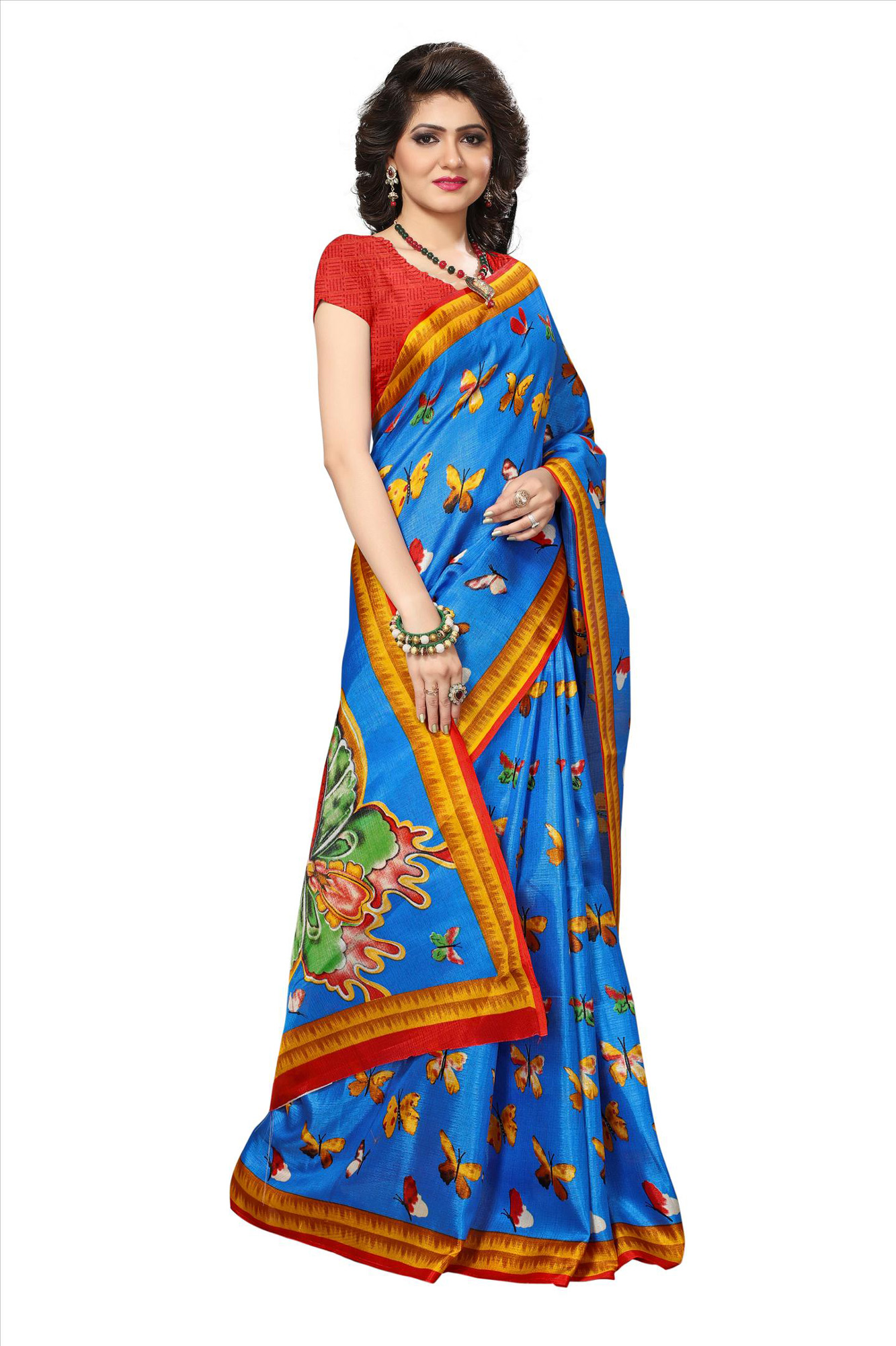 Blue Festive Wear Printed Khadi Jute Silk Saree
