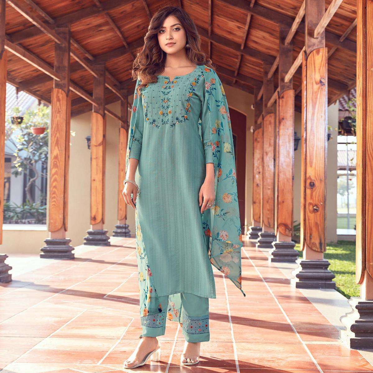 Alluring Pastel Blue Colored Partywear Floral Embroidered Pure Viscose Kurti - Pant Set With Dupatta