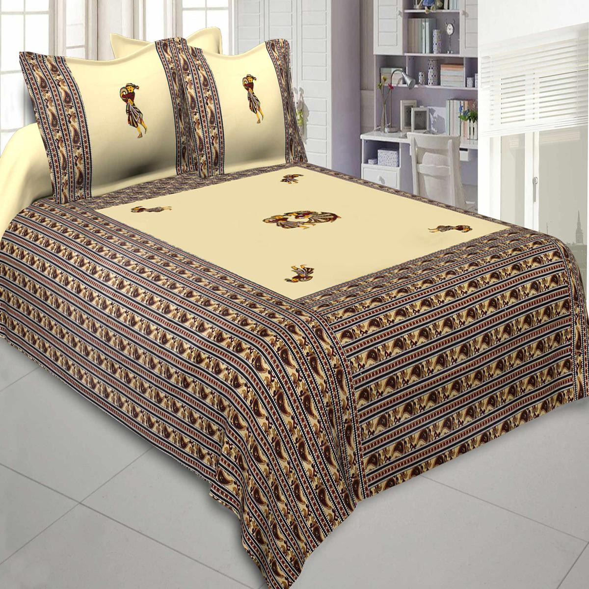 Jaipur Fabric Applique Cream Chang Dance Jaipuri Hand Made Embroidery Patch Work Double Bedsheet With Two Pillow Cover