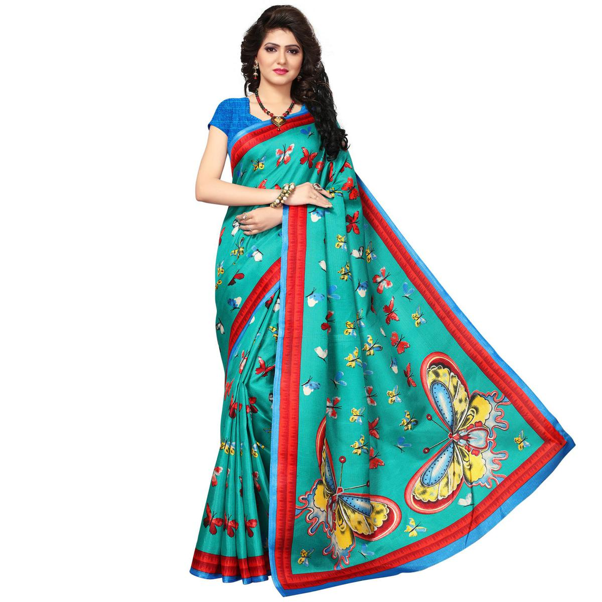 5d10da76e Buy Rama Green Festive Wear Printed Khadi Jute Silk Saree for womens online  India