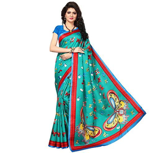 Rama Green Festive Wear Printed Khadi Jute Silk Saree