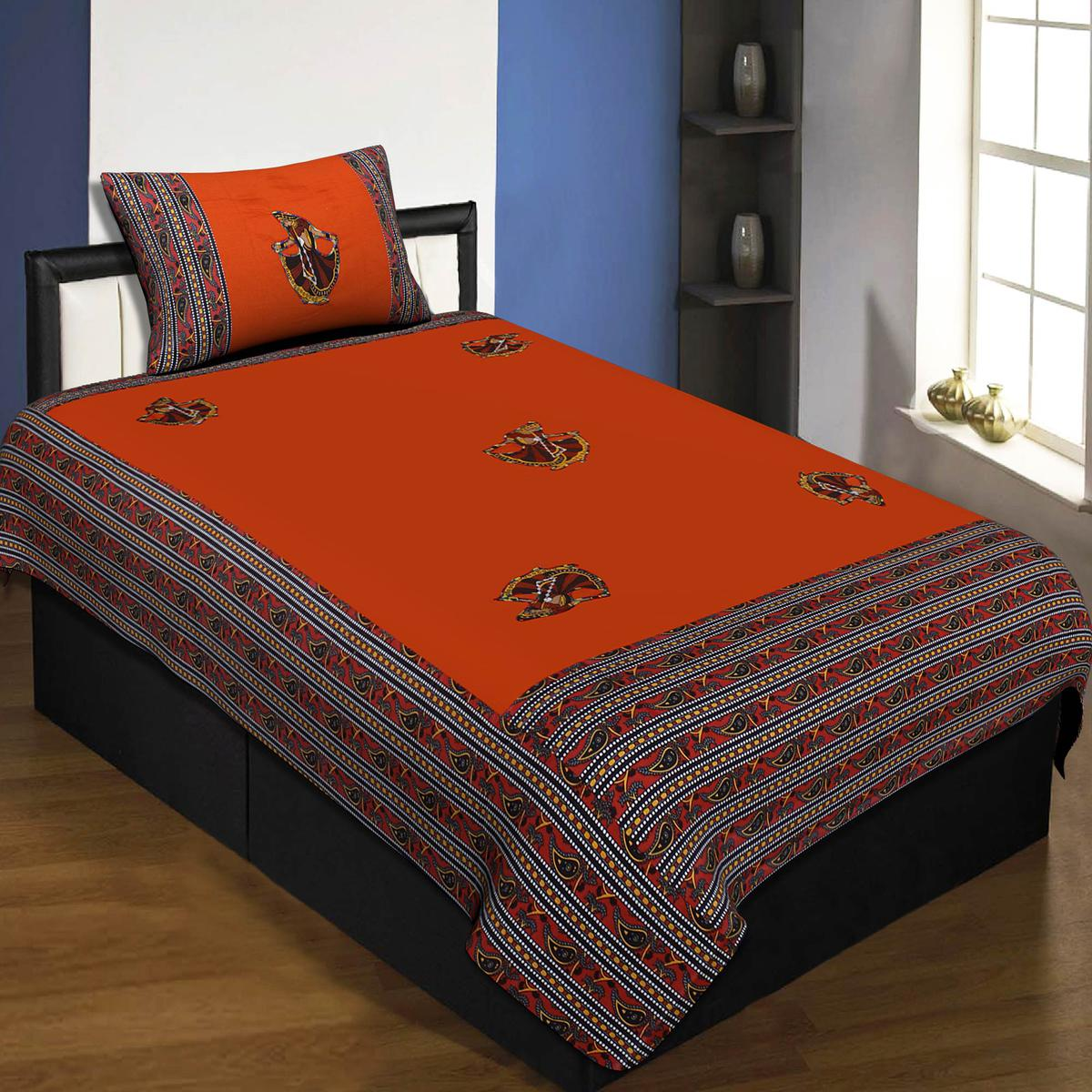 Jaipur Fabric Applique Orange Gujri Jaipuri Hand Made Embroidery Patch Work Single Bedsheet With 1 Pillow Cover
