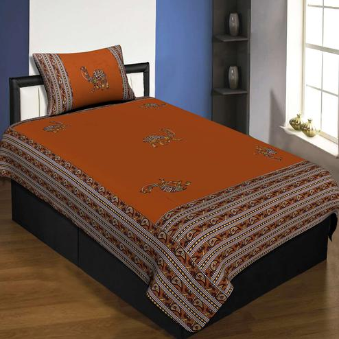 Jaipur Fabric Applique Mustard Camel Jaipuri Hand Made Embroidery Patch Work Single Bedsheet With 1 Pillow Cover