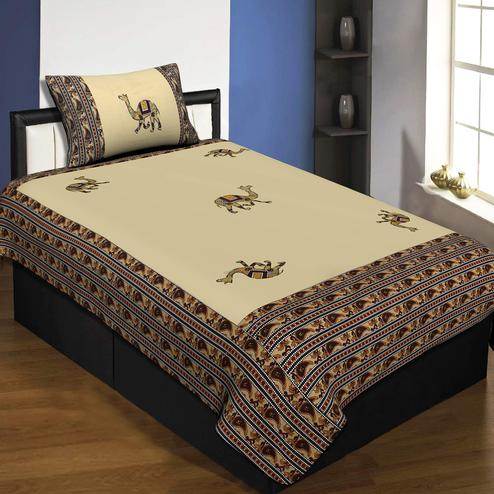 Jaipur Fabric Applique Cream Camel Jaipuri Hand Made Embroidery Patch Work Single Bedsheet With 1 Pillow Cover