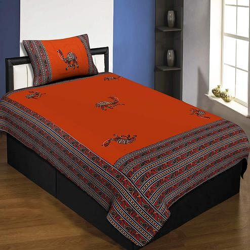 Jaipur Fabric Applique Orange Camel Jaipuri Hand Made Embroidery Patch Work Single Bedsheet With 1 Pillow Cover
