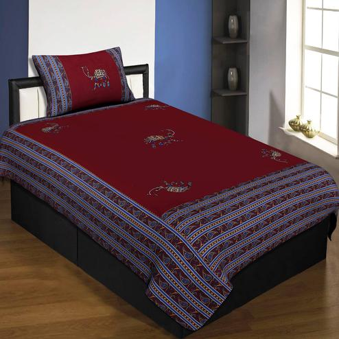 Jaipur Fabric Applique Maroon Camel Jaipuri Hand Made Embroidery Patch Work Single Bedsheet With 1 Pillow Cover