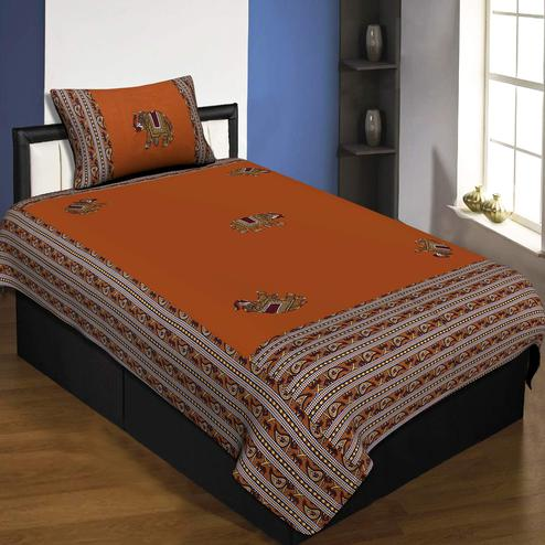 Jaipur Fabric Applique Mustard Elephant Jaipuri Hand Made Embroidery Patch Work Single Bedsheet With 1 Pillow Cover