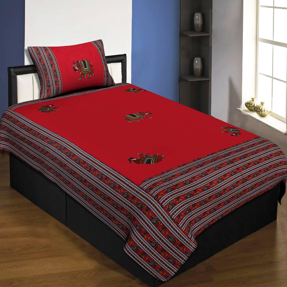 Jaipur Fabric Applique Red Elephant Jaipuri Hand Made Embroidery Patch Work Single Bedsheet With 1 Pillow Cover
