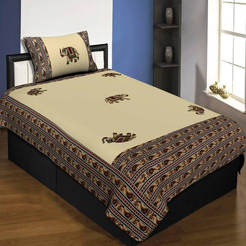 Jaipur Fabric Applique Cream Elephant Jaipuri Hand Made Embroidery Patch Work Single Bedsheet With 1 Pillow Cover