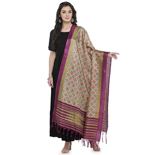 Lovely Pink Bordered Printed Khadi Silk Dupatta