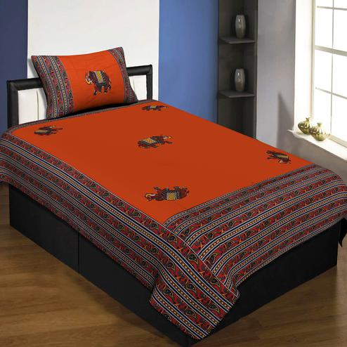 Jaipur Fabric Applique Orange Elephant Jaipuri Hand Made Embroidery Patch Work Single Bedsheet With 1 Pillow Cover