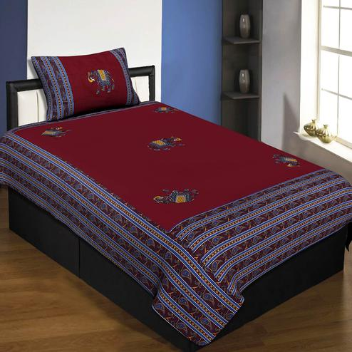 Jaipur Fabric Applique Maroon Elephant Jaipuri Hand Made Embroidery Patch Work Single Bedsheet With 1 Pillow Cover