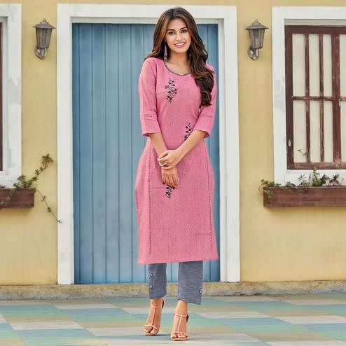 Sensational Pink Colored Casual Wear Embroidered Heavy Pure Cotton Kurti