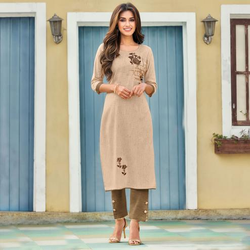 Flaunt Beige Colored Casual Wear Embroidered Heavy Pure Cotton Kurti