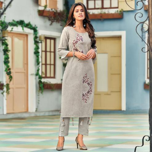 Exclusive Grey Colored Casual Wear Embroidered Heavy Pure Cotton Kurti