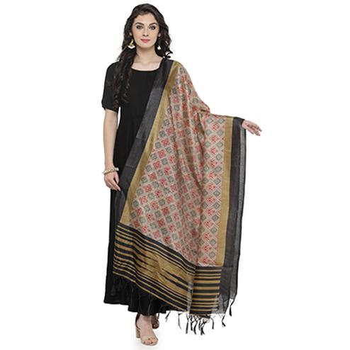 Lovely Black Bordered Printed Khadi Silk Dupatta