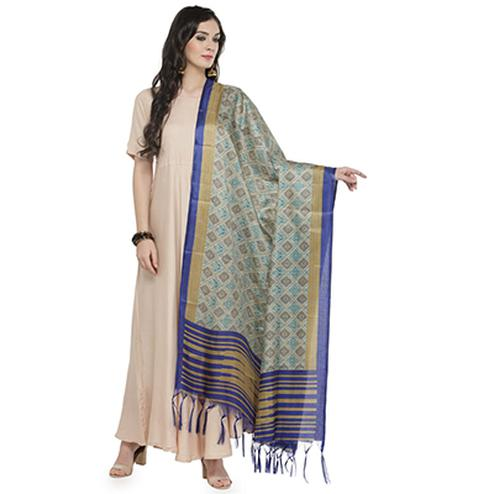 Lovely Dark Blue Bordered Printed Khadi Silk Dupatta