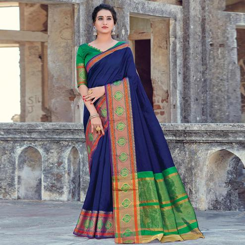 Exclusive Navy Blue Colored Festive Wear Woven Cotton handloom Saree