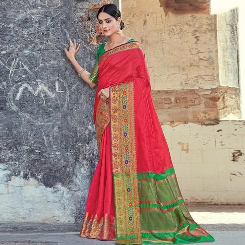 Capricious Red Colored Festive Wear Woven Cotton handloom Saree