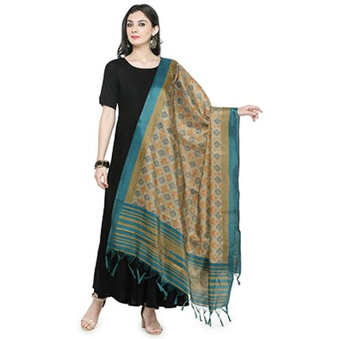 Lovely Turquoise Blue Bordered Printed Khadi Silk Dupatta