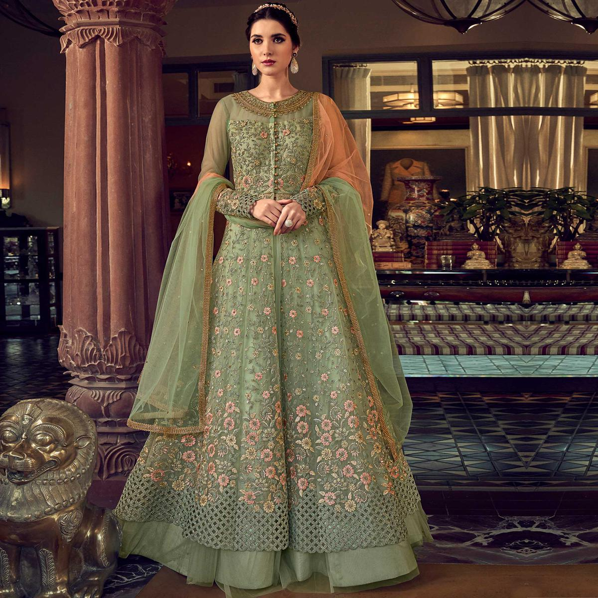 Stylee Lifestyle Green Colored Party Wear Net Embroidered Dress Material