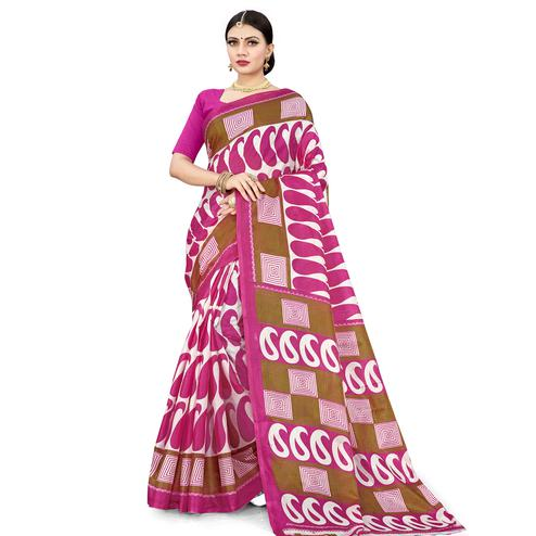 Exotic Pink Colored Casual Wear Printed Cotton Silk Saree