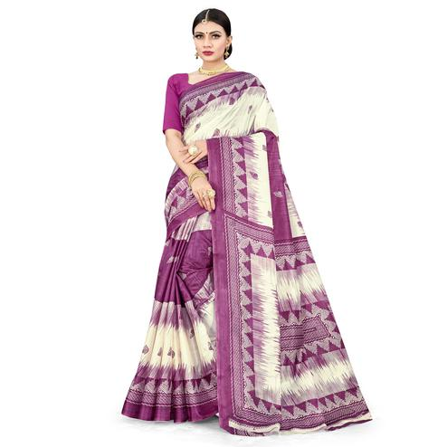 Trendy Purple Colored Casual Wear Printed Cotton Silk Saree