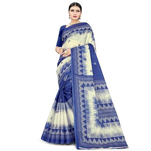 Radiant Blue Colored Casual Wear Printed Cotton Silk Saree