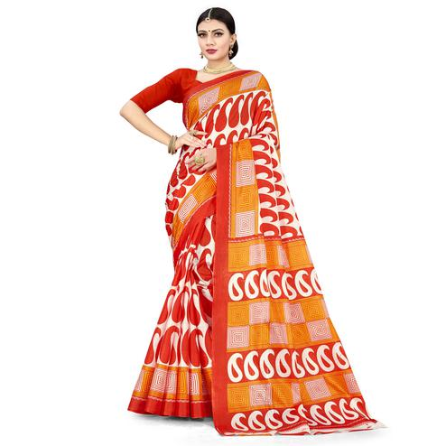 Pleasant Dark Orange Colored Casual Wear Printed Cotton Silk Saree