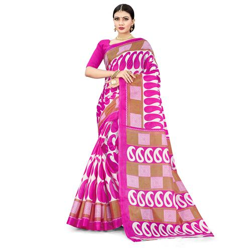Energetic Dark Pink Colored Casual Wear Printed Cotton Silk Saree