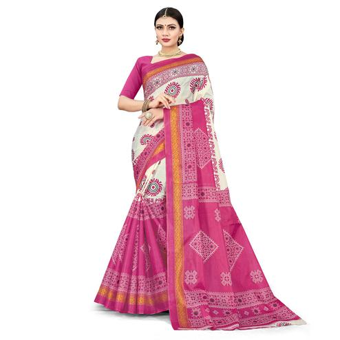 Glowing Pink Colored Casual Wear Printed Cotton Silk Saree