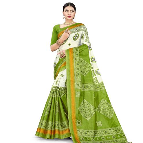 Exceptional Green Colored Casual Wear Printed Cotton Silk Saree