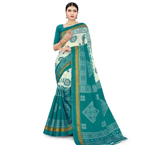 Mesmeric Green Colored Casual Wear Printed Cotton Silk Saree