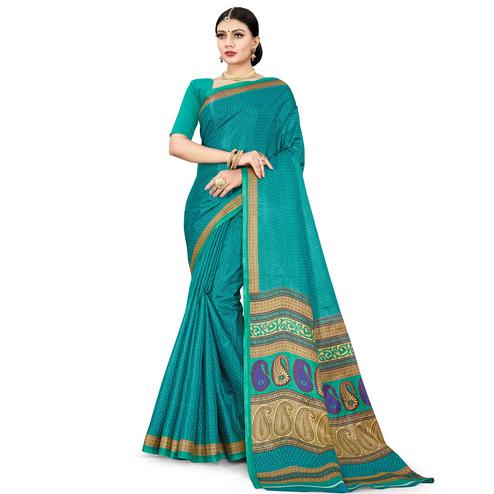 Refreshing Turquoise Blue Colored Casual Wear Printed Cotton Silk Saree