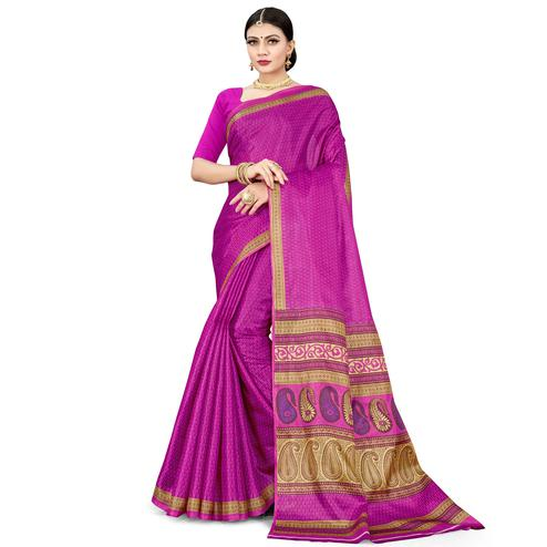 Magnetic Pink Colored Casual Wear Printed Cotton Silk Saree